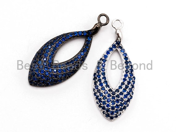 Cobalt CZ Micro Pave Teardrop Go-Go Pendant, Cubic Zirconia Oval Leaf Pendant for Necklace Bracelet Earrings Making, 13x31mm,sku#Y47