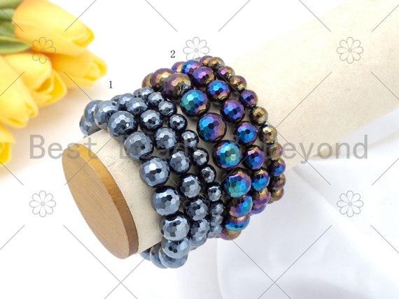 High Quantity Mystic Black Onyx/AB Mystic Black Onyx Stretchy Bracelet, 8mm/10mm/12mm Elastic Fit Round Faceted, 7.5'' Bracelet,Sku#EF59
