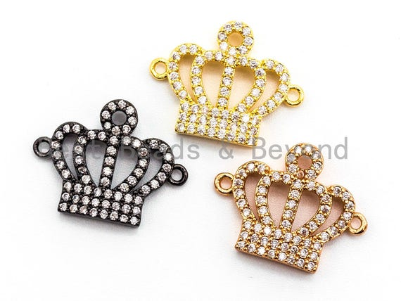 15x19mm CZ Micro Pave Crown Connector, Cubic Zirconia Space Connector, CZ Crown Beads, Micro pave crown findings, 15x19mm,sku#E353
