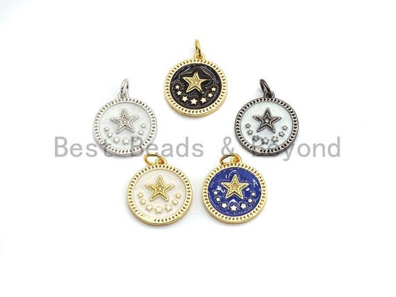NEW DESIGN CZ Pave Enamel Star on Round Pendant, Star Enamel Charm Pendant,Enamel Round Pendant, Oil Drop jewelry Findings, 16x18mm,sku#Z251