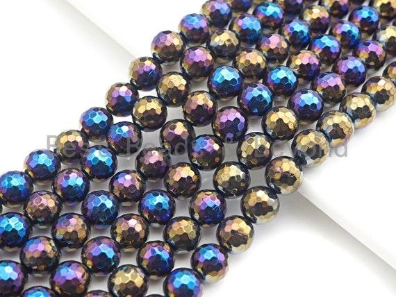 "Mystic AB Color Black Onyx beads, Natural Gemstone Beads, 6mm/8mm/10mm/12mm, 15.5"" Full Strand, sku#U751"