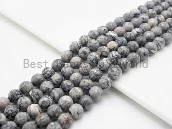 """Quality Natural Map Jasper Faceted Round Beads,6mm/8mm/10mm/12mm Gray Gemstone Beads,15.5"""" Full Strand,SKU#U393"""