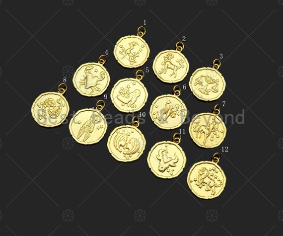 Constellation On Round Coin Shape Pendant/Charm, 14K Gold Filled Medallion Charm, Necklace Bracelet Charm Pendant,19x23mm,Sku#ZX37
