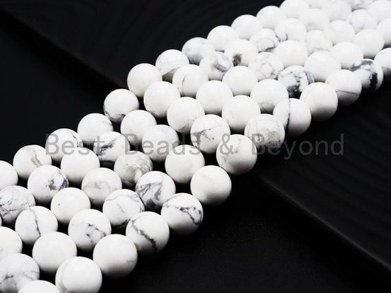 Natural Smooth/Faceted Round Howlite beads, 4mm/6mm/8mm/10mm Natural White Gemstone beads, Natural Howlite Beads, 15.5inch strand, SKU#U251