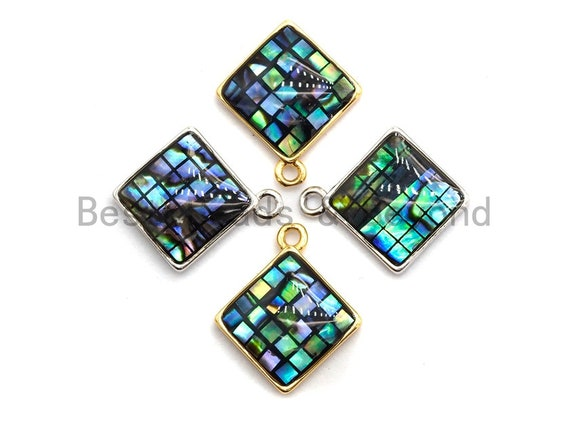 100% Natural Abalone Shell Diamond Shape Charm/Pendant, Abalone Shell Pendant Gold/Silver Finish, Shell Jewelry, 13x16mm,SKU#Z328