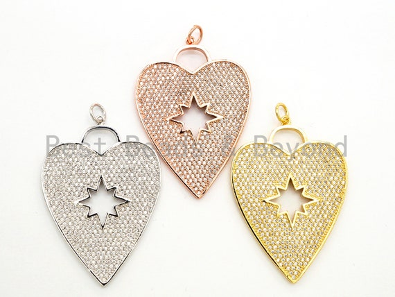 CZ Micro Pave Heart Pendant/Focal with Hollow out Star, Cubic Zirconia Large Heart Pendant Charm,48x33mm,sku#F519