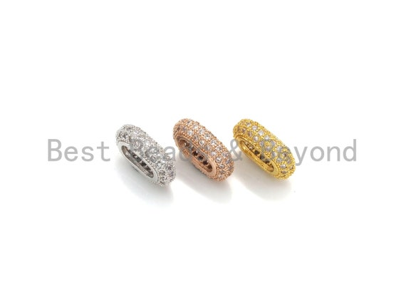 PRESELLING Big Hole CZ Pave Oval beads, Cubic Zirconia Spacer Beads, European Large hole Oval Bead, 3x7x11mm, sku#Z884