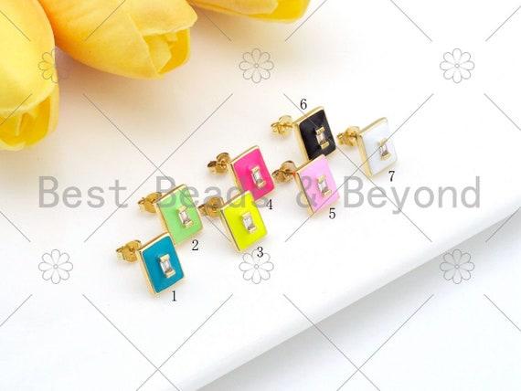 Colorful Enamel Rectangle Shape Earrings, 18K Gold Filled CZ Micro Pave Stud Earrings, Enamel CZ Jewelry, 11x9mm, Sku#O70