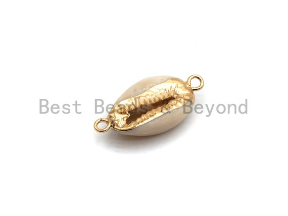 Gold Plated Cowrie Shell Connector, Double Bails Cowrie, Cowrie Charms, Gold Cowrie, Cowrie Necklace, Boho Charm, 12x24mm, sku#V38
