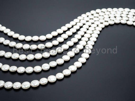 Natural Mother of Pearl beads, 5x12x12mm White Pearl Coin Disc Beads, Loose MOP Coin Pearl Shell Beads, 16inch full strand, SKU#T59