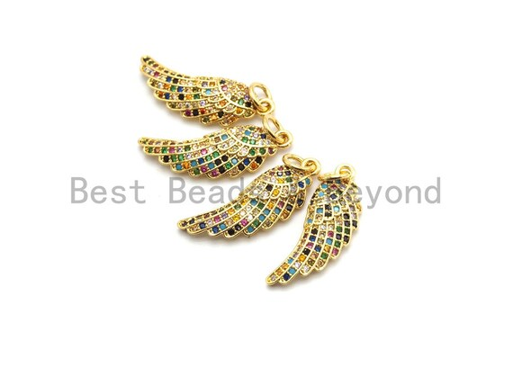 CZ Colorful Micro Pave Angel Wing Pendant, Angel Wing Shaped Pave Pendant, Gold plated, 8x23mm, Sku#F726