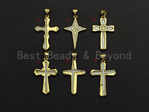 PRESELLING Gold Cross Pendant with Mother of Pearl, Cross Pendant/Charm, Pearl Shell Charm, 18x26mm,SKU#F1086