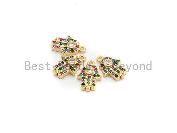 CZ Micro Pave Multi Color Hamsa Hand Pendant, Hamsa Hand Shaped Pave Pendant, Gold plated, 9x13mm, Sku#B114