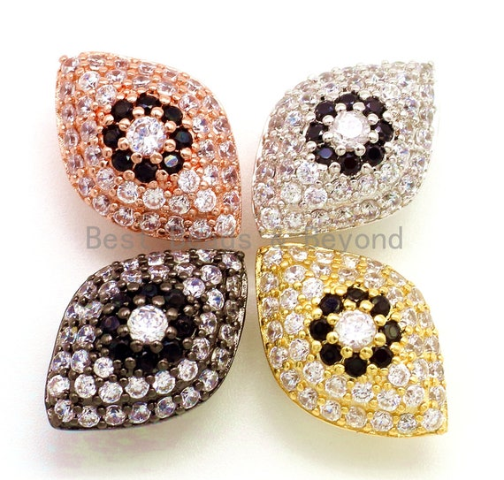 CZ Micro Pave Flower on Evil Eye Beads, Cubic Zirconia Spacer Beads for Necklace/Bracelet,1pc/2pcs, 19x13x10mm,sku#G147
