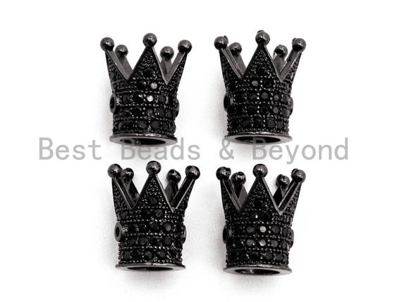 Black CZ Pave On Black Royal Crown Micro Pave Beads, Cubic Zirconia Crown Spacer Beads, Pave Beads, 10x7mm, sku#G319