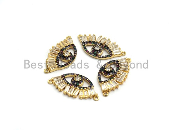 Multi-Color CZ Micro Pave Long eyelash Evil Eye Connector, Rainbow CZ Micro Pave Evil Eye Necklace Connector, Gold plated, 14x27mm,,sku#F658