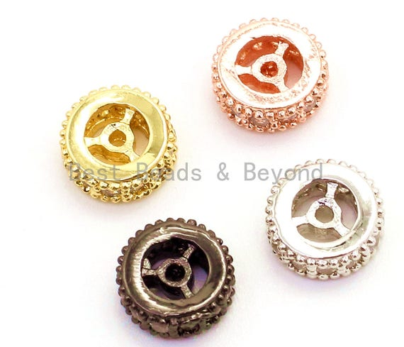 1pc/5pcs CZ Micro Pave Spacer Beads, Cubic Zirconia Wheel Round Spacer Beads, 6x3mm, 8x3mm, sku#G80