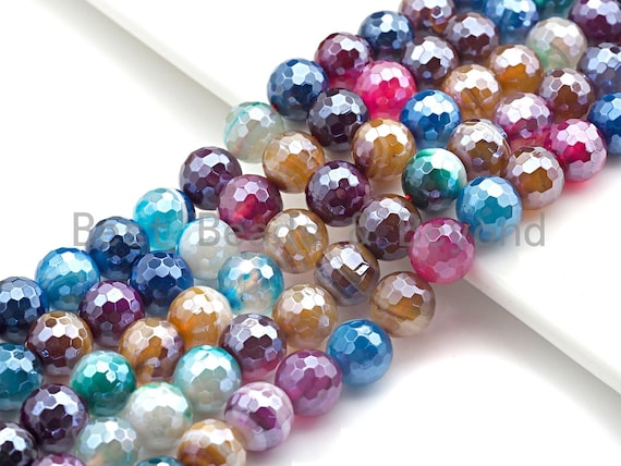 """Mystic Multicolor Agate, round faceted agate 6mm/8mm/10mm/12mm, Mixed color Agate beads, 15.5"""" Full strand, sku#U689"""