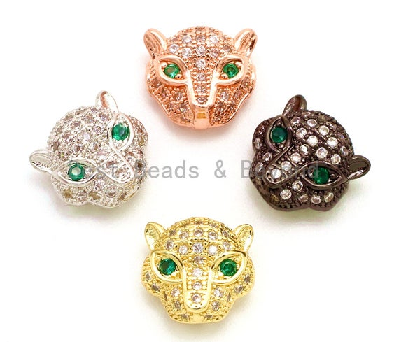 CZ Micro Pave Jaguar Panther Head with Green Eye Beads, Cubic Zirconia Spacer Beads, Leopard Animal Head Space Beads,12mm, 1/2pcs sku#G105