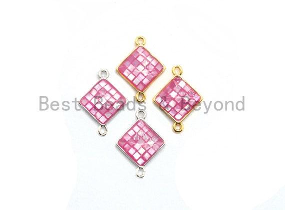 100% Natural Shell Pink Diamond Shape Connector, Gold/Silver Plated Pink Shell, Pink Shell Connector, Sea Shell Jewelry, 14x18mm,SKU#Z287