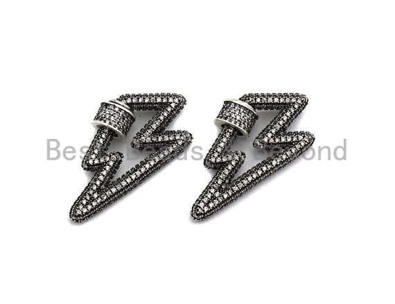 Antique Silver Clear CZ Micro Pave Lightning Shape Clasp, Antique Silver Plated Clasp, 17x33mm, sku#H163