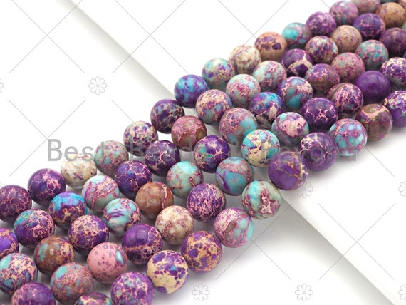 High Quality Galaxy Sea Sediment Imperial Jasper Beads, 6mm/8mm/10mm/12mm Purple Blue Round Smooth Japser, 15.5'' Full Strand, SKU#UA173