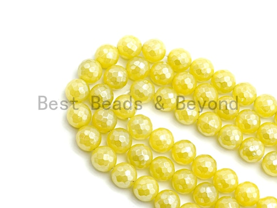 Mystic Plated Yellow Jade Round Faceted Beads, 6mm/8mm/10mm/12mm/14mm Yellow Color Jade Gemstone Beads, 15.5inch strand, SKU#U436