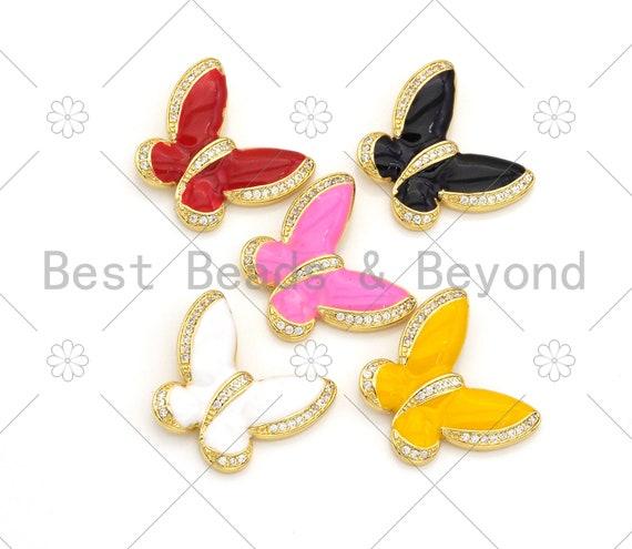 Colorful Enamel CZ Micro Pave Butterfly Pendant, 18K Gold Filled Enamel Butterfly Pendant, Pave Enamel Jewelry,25x24mm,Sku#LK369