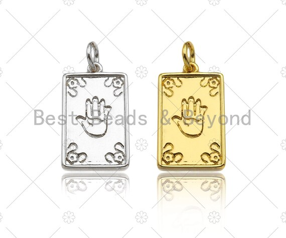 Dainty Hand On Rectangle Shape Pendant/Charm, Gold/Silver Medallion Charm, Necklace Bracelet Charm Pendant,10x17mm, Sku#Z1270