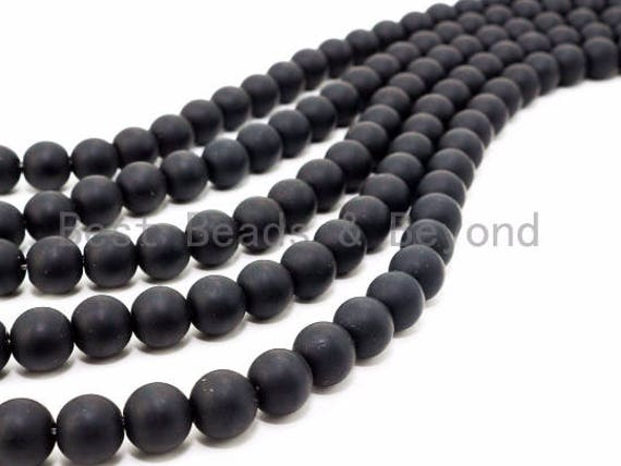 "Quality Matte/Shiny Black Onyx Beads, 3mm 4mm 6mm 8mm 10mm 12mm 14mm 16mm 18mm 20mm, Gemstones Round Smooth Beads,15.5"" Full Strand, SKU#Q3"