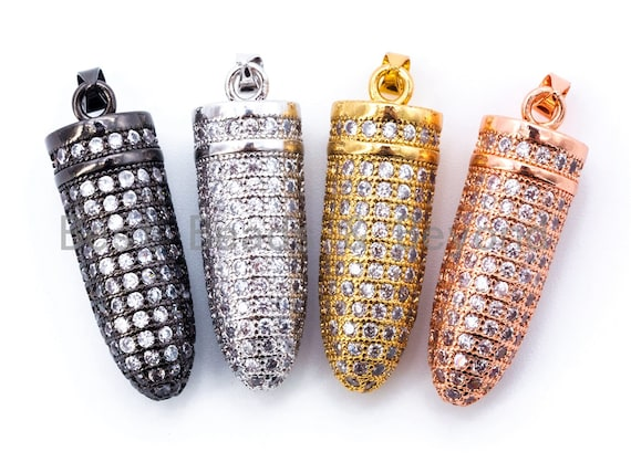 White CZ Micro Pave Bullet Pendant/Charm, Men's Jewelry Findings, 10x29mm, sku#L36