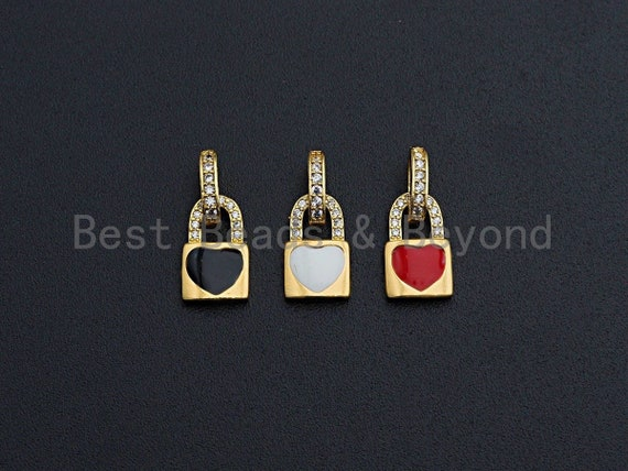 Enamel Colorful Heart On Lock Shape Pendant,CZ Micro Pave Oil Drop pendant,Enamel pendant,Enamel Jewelry,8x12mm,sku#Z645