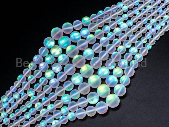 Matte Rainbow Manmade Moonstone Graduated Strand, 6mm-16mm Round Matte White beads, Moonstone Beads ,15.5inch FULL strand, SKU#U79