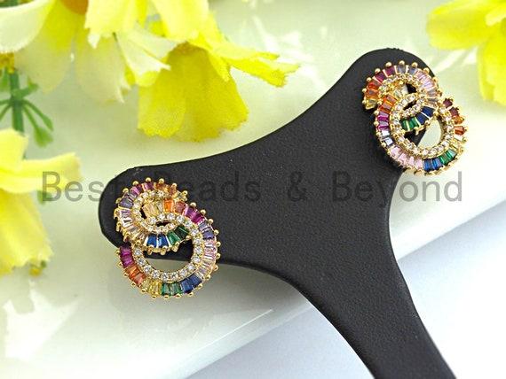 PRE-SELLING Clorful CZ Micro Pave Baguette Stud Earring,Double C Shape Earrings, Colorful Cz micro pave earrings,25x35mm,sku#J132