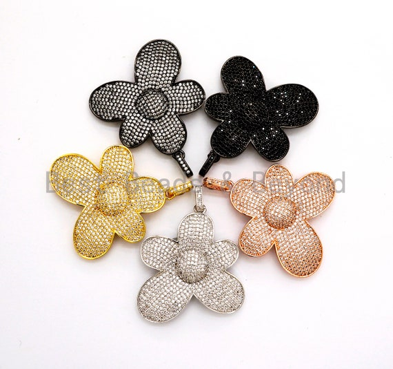 CZ Micro Pave Flower Pendant,Cubic Zirconia Paved Flower Charm Gold,Silver,Rose Gold,Gunmetal plated,40mm/30mm/20mm,sku#F492