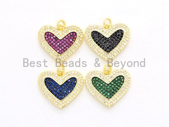 CZ Micro Pave Heart Pendant/Charm, Cubic Zirconia Blue Fuchsia Black Green Heart Pave Pendant,18x21mm, sku#F560