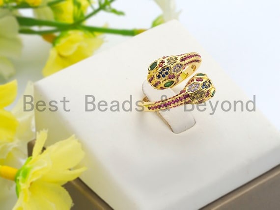 PRE-SELLING Colorful CZ Micro Pave Two Heads Snake Wrap Spiral Ring, Cubic Zirconia Gold Ring, Adjustable Ring, Open Ring 15x23x17mm,sku#X67