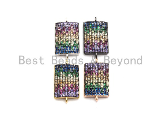 PRE-SELLING Rainbow CZ Micro Pave Rectangle Curved Connector for Bracelet/Necklace, Rectangle Connector, Spacer Connector, 19x38mm,sku#E442