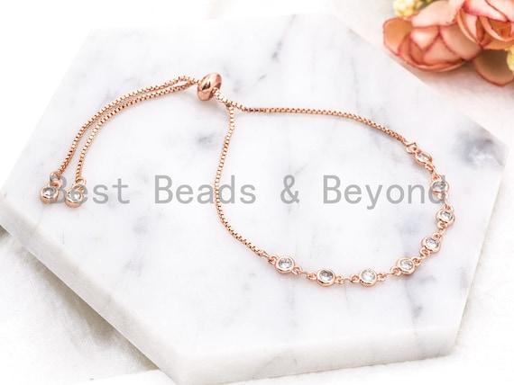 Gold Silver Black Rose Gold Bracelet, Sliding Adjustable Bracelet, CZ Evil Eye bracelet, Wedding Bridal Bracelet, SKU#E357