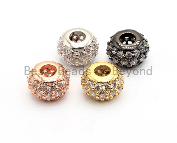 CZ Micro Pave Large Hole Rondelle Beads, Cubic Zirconia Pave Beads, 6mm/8mm/10mm Shamballa Ball beads, CZ Space Beads,sku#G412