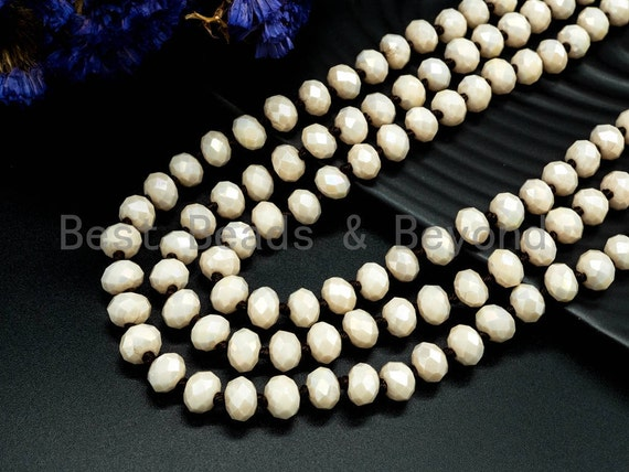 60 inches 36inches Hand Knotted Beige Crystal Necklace, Extra Long Necklace, 5x8mm Rondelle Faceted Cream Opaque white Crystal Beads, SKU#D5
