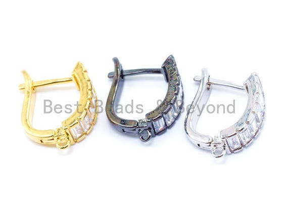 1Pair/3Pairs CZ Micro Pave Latch Back Earring, Lever back Earring, Gold, Silver black, Huggie Ear wire,sku#J10