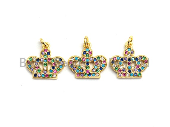 PRE-SELLING CZ Colorful Micro Pave Crown Pendant, Crown Shaped Pave Pendant, Gold plated, 15x13mm, Sku#F752