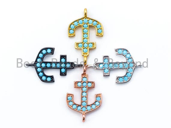 1PC/2PCS, CZ Turquoise Micro Pave Anchor Connector, Blue CZ on Gold/Silver/Rose Gold/Gunmetal Bracelet Necklace Charm,14x23mm, sku#M100