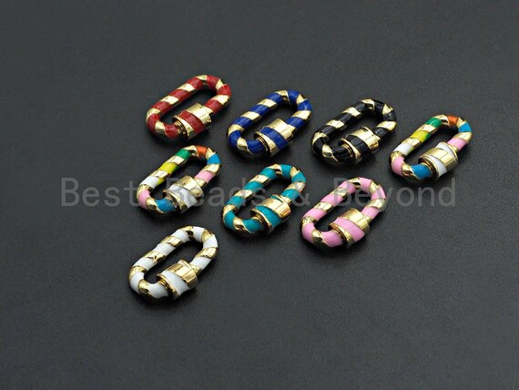 PRESELLING Colorful Enamel Pave Oval Shape Clasp, Carabiner Clasp, 12x20mm, sku#H251
