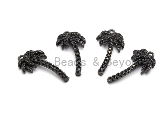 Black CZ Pave On Black Micro Pave Coconut Tree Shape Charm Beads, Cubic Zirconia Paved Coconut Tree Charm,10x19mm, sku#B103