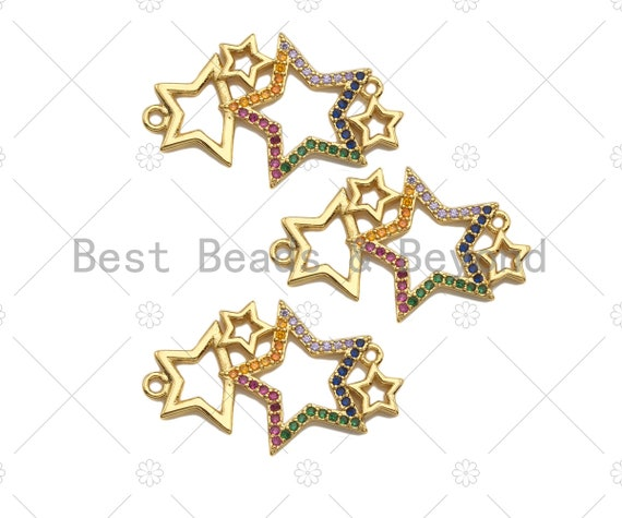Colorful CZ Micro Pave Star Charm/Pendant, Bracelet Charm ,Star Pave Pendant, Multi Stars Connector,Gold plated Star ,18x30mm, Sku#LK112