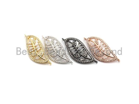 PRE-SELLING Big CZ Micro Pave Leaf Connector with Baguette cz Cluster, Leaf Connector, Spacer Connector, 12x31mm,sku#E435