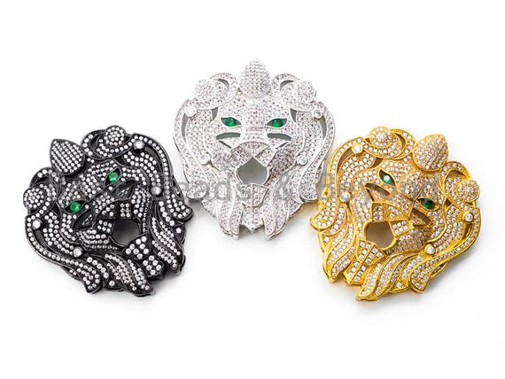 Focal Tiger head pendant, CZ Micro Pave charm, Tiger head Focal Beads, Gold/Rose Gold/Silver/Gunmetal Color, 51mm, sku#L158