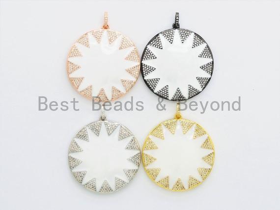 NEW Enamel Large White Round Star Pendant,CZ Micro Pave Oil Drop Round pendant,Enamel pendant,Enamel Jewelry,40x43mm,sku#F589